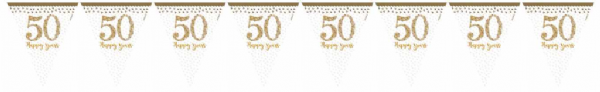 Sparkling Golden Anniversary Pennant Bunting